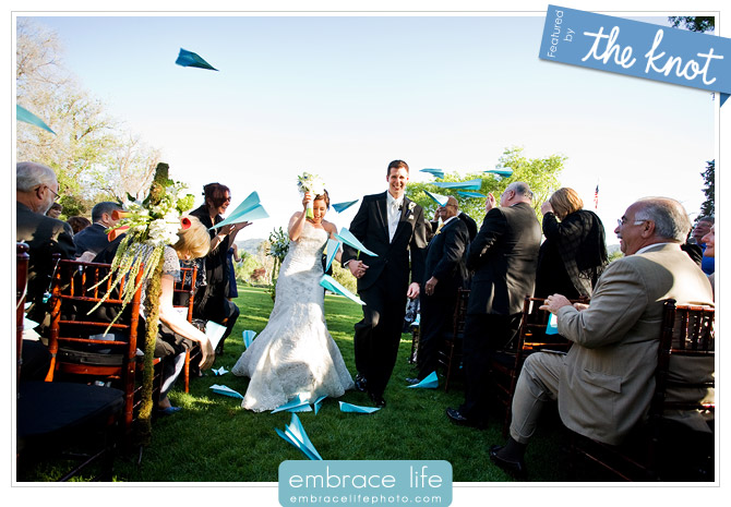 We love that The Knot is featuring this great wedding ceremony exit idea on
