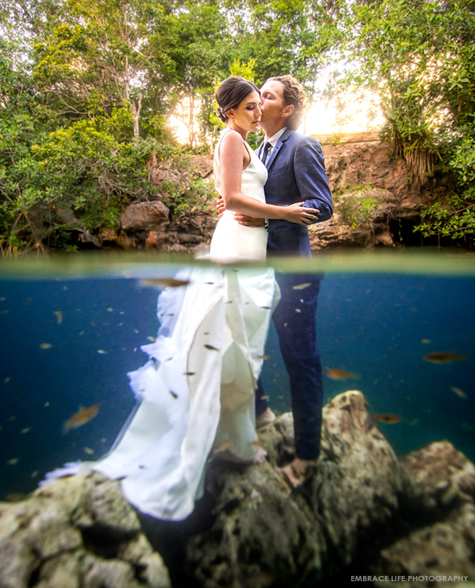 Tulum Mexico Destination Wedding Photographer Cenote Trash The Dress