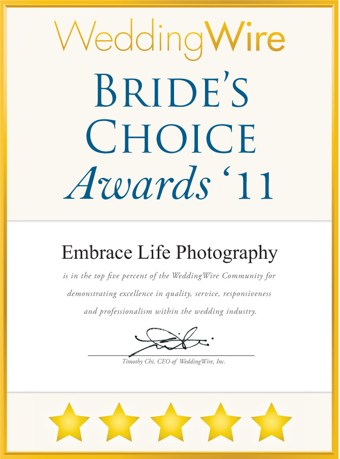 WeddingWire Brides Choice Awards 2011 for wedding photography