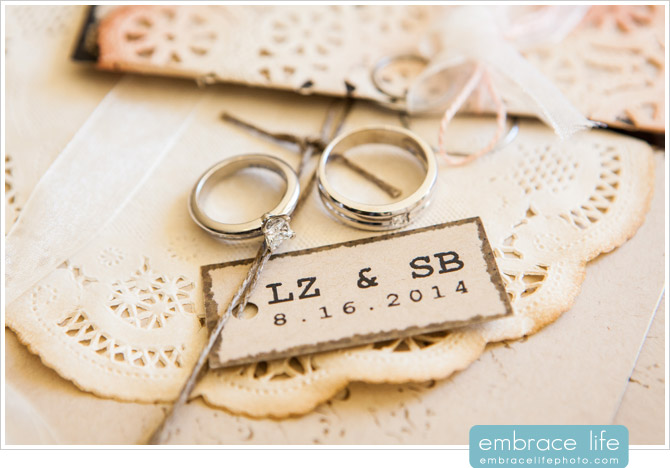 Wedding rings photographed on the DIY wedding invitations, hand-made by the talented bride