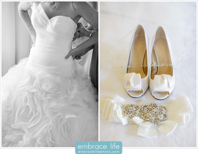 Delicate detail photographs of the bride's stunning rose ruffled wedding dress, bejeweled veil and belt, and lovely high heels