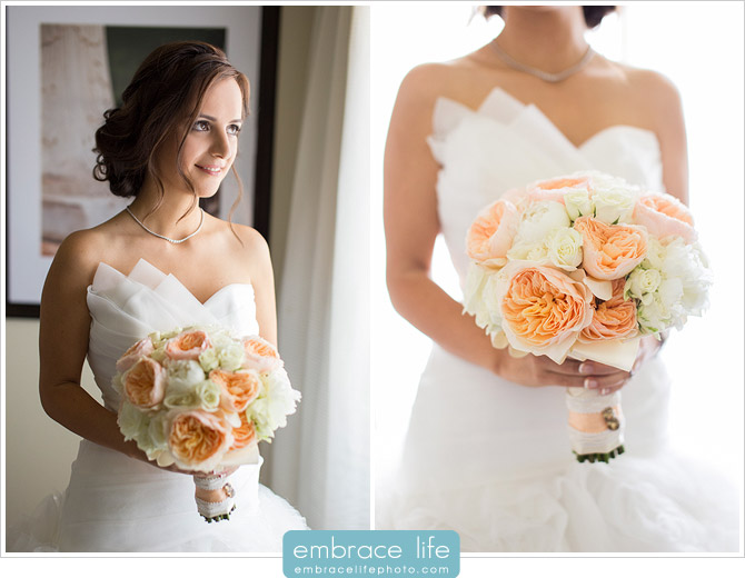 The beautiful bride and her gorgeous bouquet of peach peonies and white roses by the super-talented Hidden Garden
