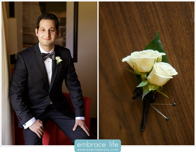 The handsome groom and his classic white rose boutonniere