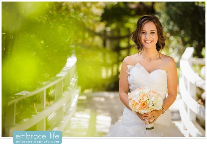 Sweet bride with a genuine smile at her Calamigos Ranch wedding