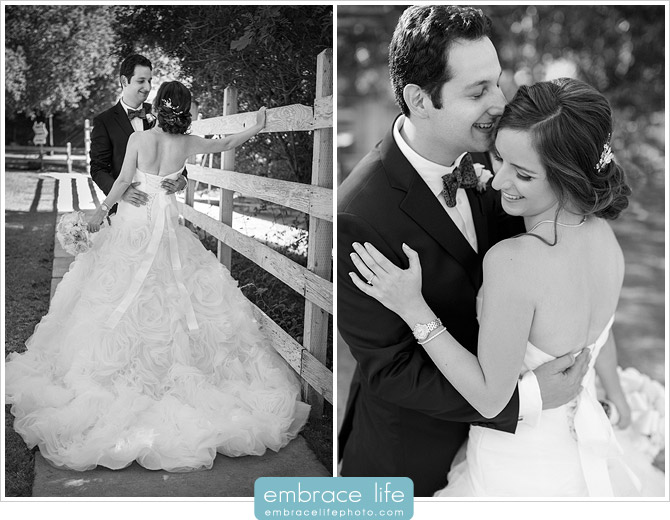 Black and white portraits of the bride and groom embracing at their Calamigos Ranch Wedding