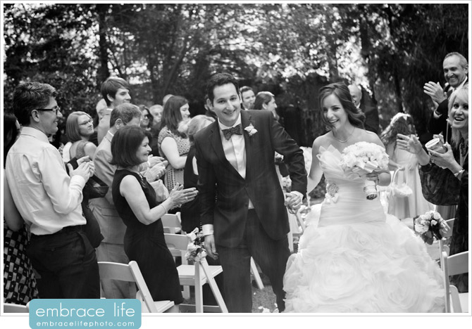 Recessional of Bride and Groom at end of wedding ceremony at Calamigos Ranch's Birchwood Room
