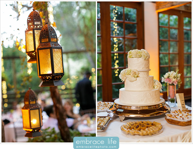 Lanterns and cake table with various desserts