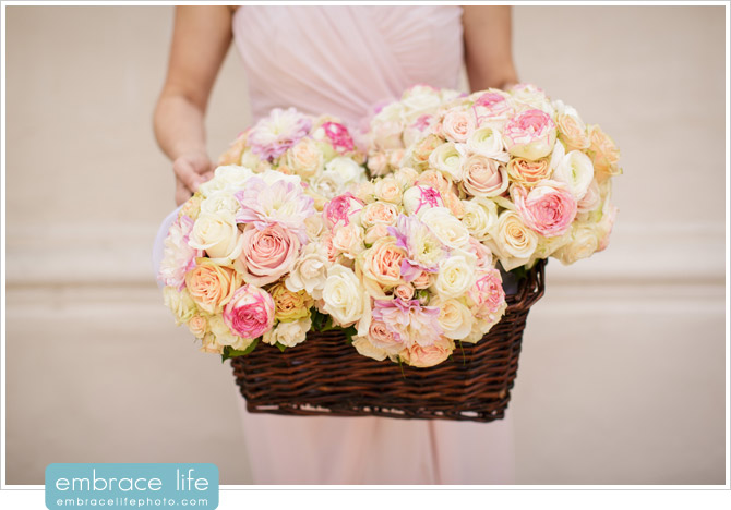 Bridesmaids bouquets created by Floral Fields displayed in wicker basket