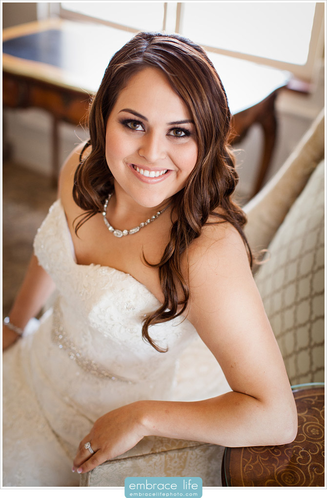 Sitting Bridal Portrait in bridal suite at Athenaeum