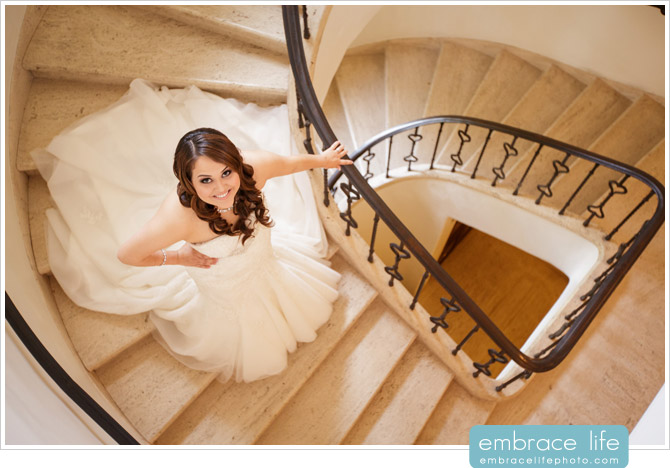 Bridal Portrait on beautiful marble spiral staircase