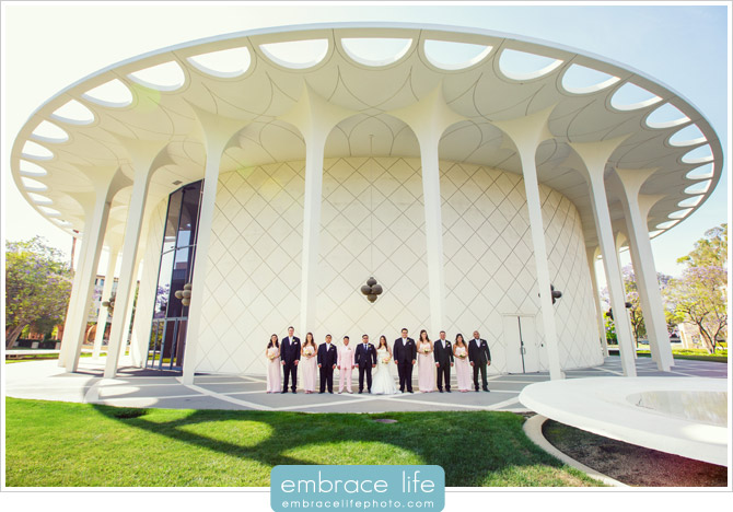 Wedding Party Portrait on the campus of Cal Tech with modern building background