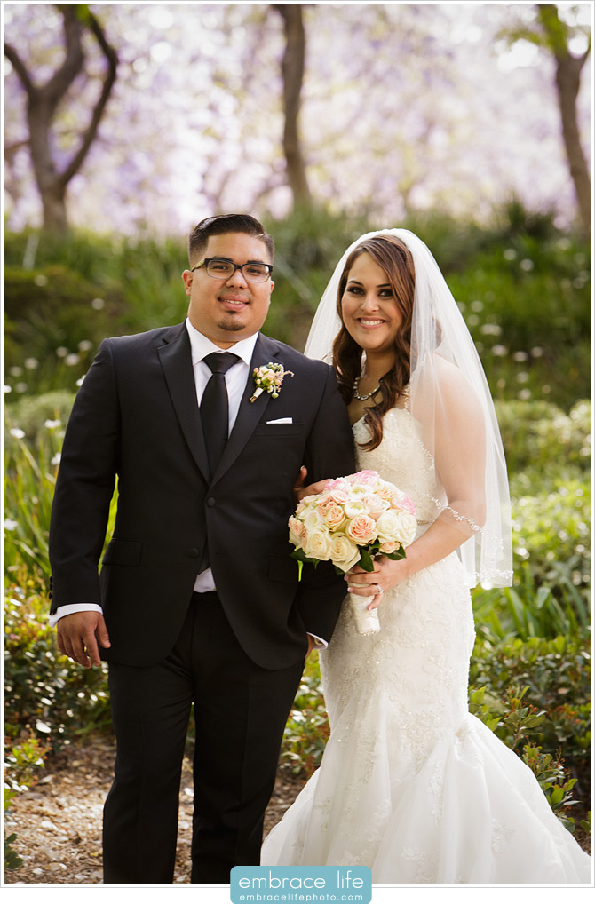 Bride and Groom Portrait in garden area on the campus of Cal Tech
