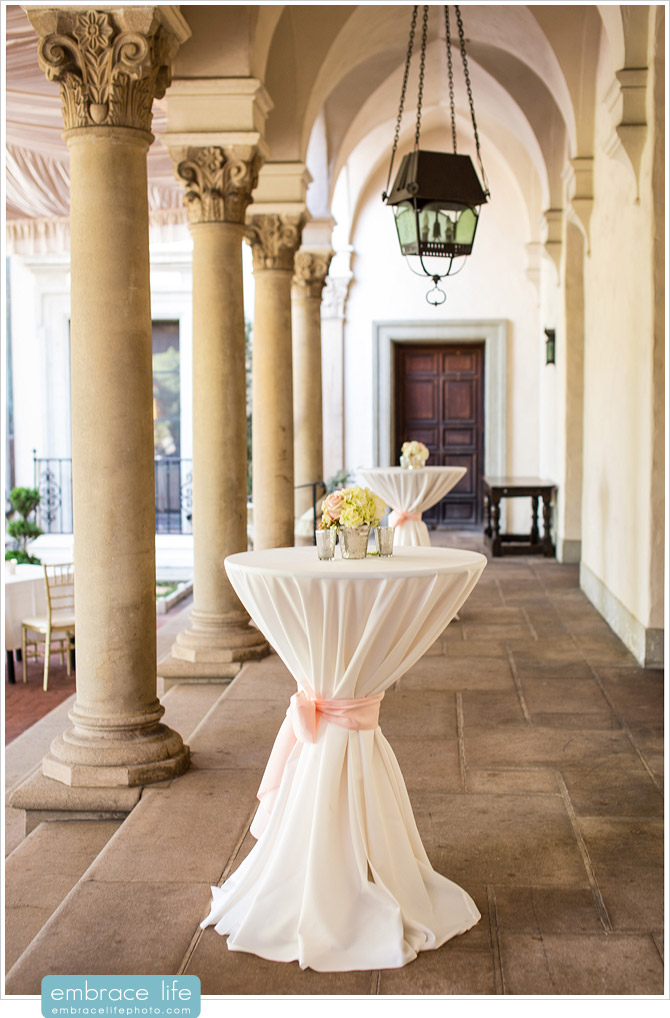 Cocktail Hour tables featuring blush accents