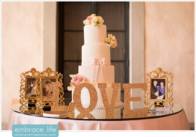 Beautiful cake table display with gold glitter