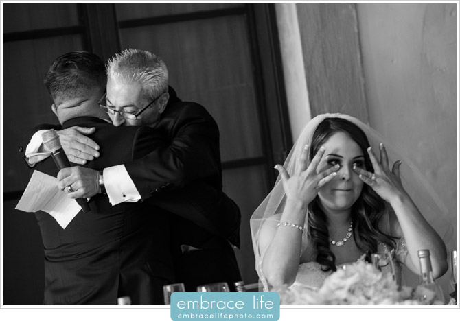 Sweet moment between groom and Father of the Bride during the Father of the Bride speech