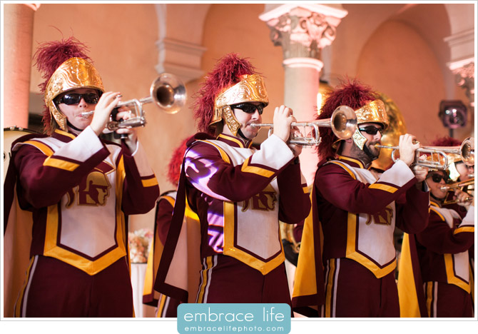 USC Marching Band playing at Athenaeum wedding reception