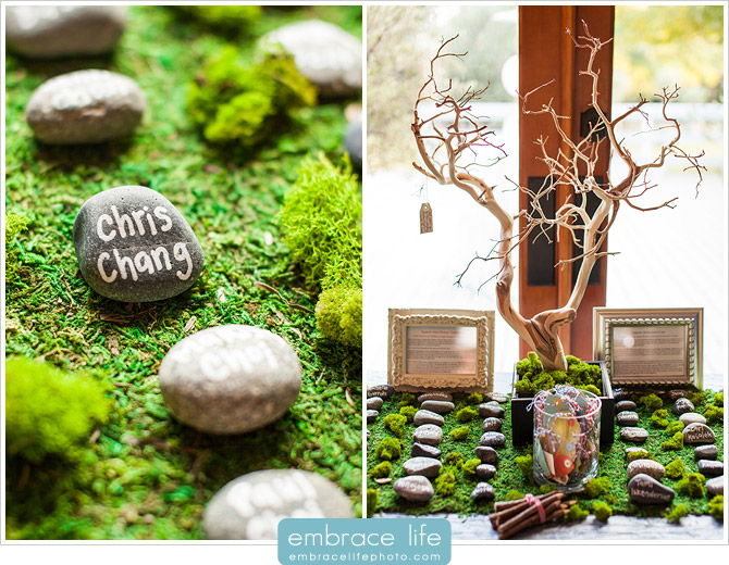 Natural Escort Cards with Rocks, Branches and Moss