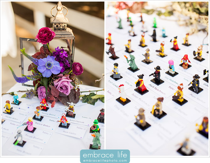 Unique Wedding Escort Cards Featuring Lego Characters