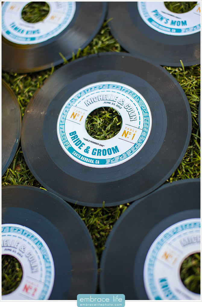 Vinyl Record Escort Cards for Retro or Music Wedding Theme