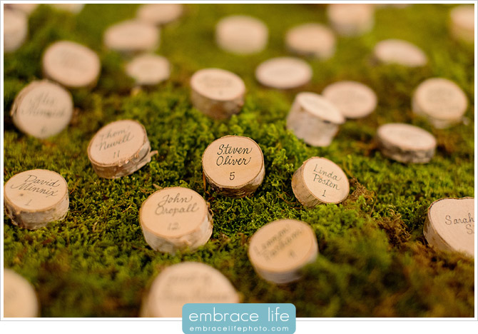 Wood and Moss Organic Wedding Escort Cards