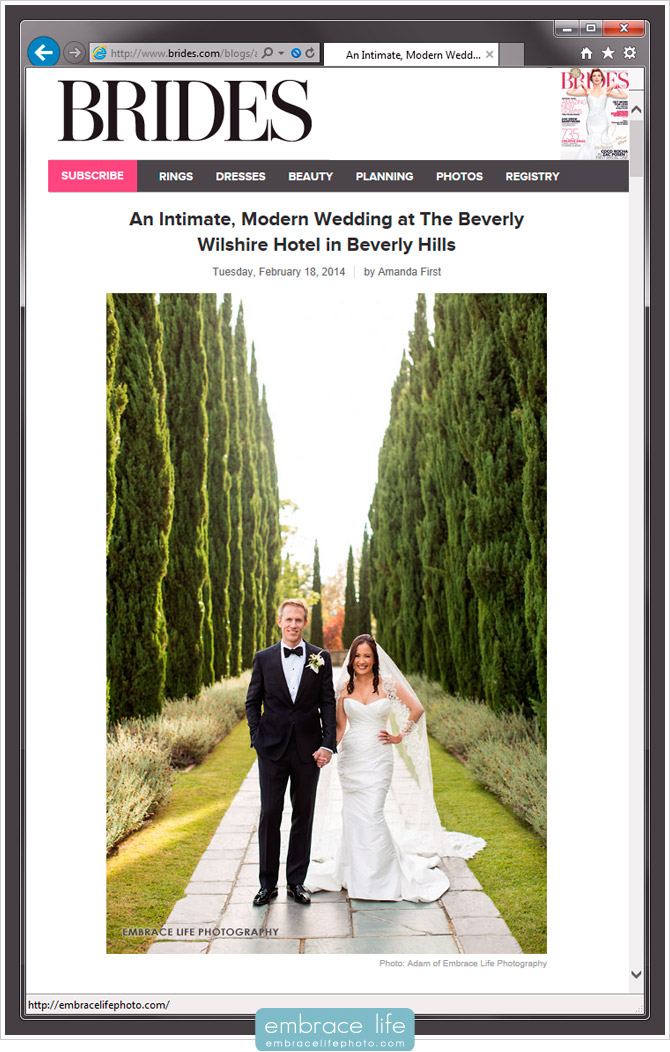 Beverly Wilshire Wedding Photography featured by BRIDES