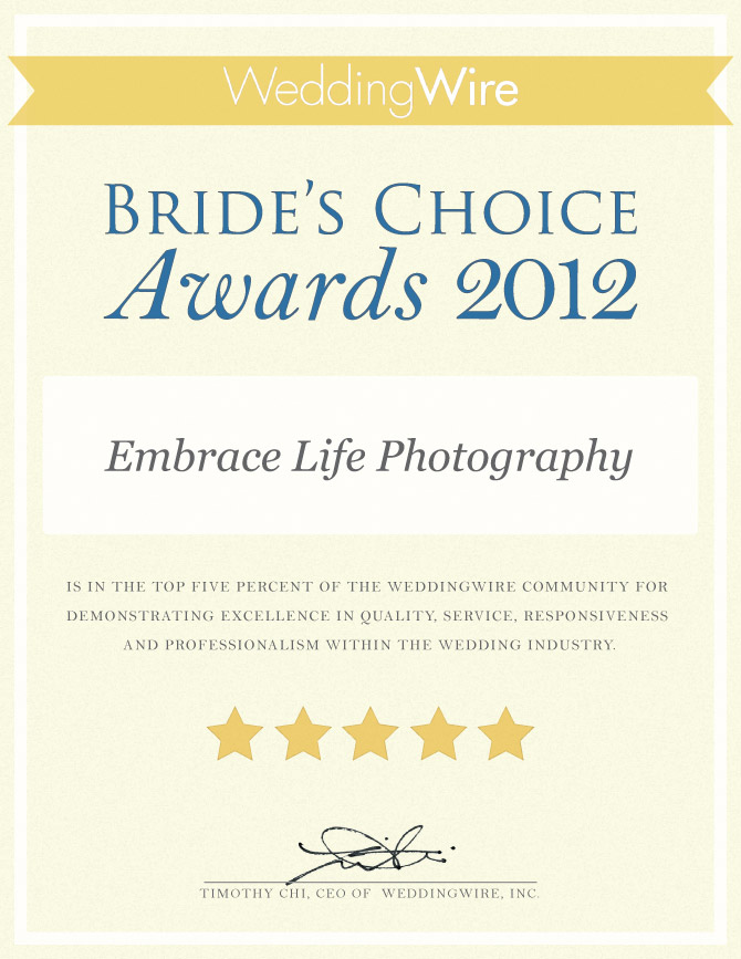 weddingwire brides choice awards 2012 for wedding photography