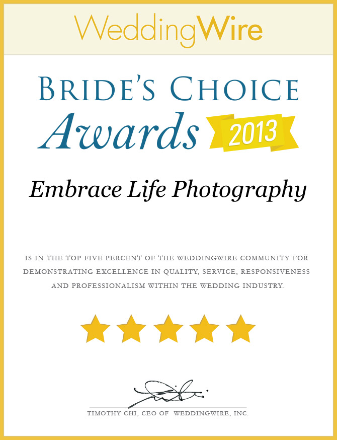 WeddingWire Brides Choice Awards 2013 for wedding photography